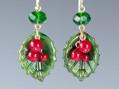 Holly Earrings w realistic lampwork glass bead leaves and