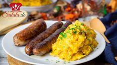 Kürbispüree geröstet - Rezept von Low Carb Mit Vroni und Nico Sausage, Meat, Zucchini, Food, Youtube, Low Carb Side Dishes, Pumpkin Puree Recipes, Proper Tasty, Easy Meals