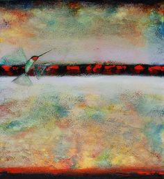 "A hummingbird perches on a branch, or perhaps looks off at a far horizon? Paul Cunningham's ""Purity Calls"" #art #fineart #SantaFe #NewMexico"
