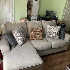 Kestrel Sofa Chaise | Ashley Furniture HomeStore Couch With Chaise, Chaise Cushions, Chaise Sofa, Kestrel, Sun Room, Toss Pillows, Modern Sofa, Holiday Wreaths, Small Living