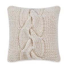 Real Simple® Luna Knit Square Throw Pillow in Cream - BedBathandBeyond.com
