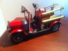 1930s Red Fire Engine - Fireman Vehicle Water Pump Truck Tin Metal Small…