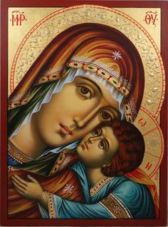 High quality hand-painted Orthodox icon of The Virgin Eleousa (halo relief). BlessedMart offers Religious icons in old Byzantine, Greek, Russian and Catholic style. Religious Images, Religious Icons, Religious Art, Byzantine Art, Byzantine Icons, Greek Icons, Paint Icon, Russian Icons, Mary And Jesus