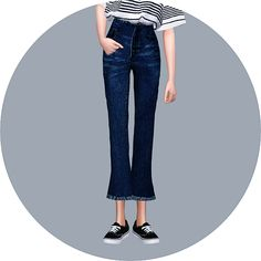 SIMS4 marigold: Cropped Flare Jeans_7부 나팔 바지_여자 의상