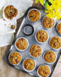 Chetna Makan's muffins are made with wholemeal flour and without refined sugar – the sweetness comes from banana and a touch of honey. They're great for brunch and will keep for a few days, so they'll give you something wholesome to snack on in the week.