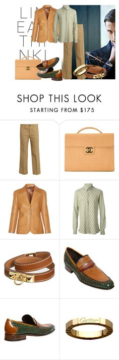 """""""Fall look"""" by goosegui ❤ liked on Polyvore featuring Miu Miu, Chanel, The Row, Hermès, Harris, men's fashion and menswear"""