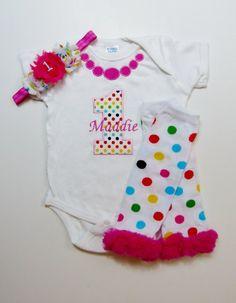 1st Birthday Girl Rainbow Dot Necklace Birthday by mamabijou, $22.00