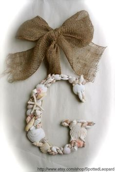 SEA SHELL Covered 12 Inch Initial Letter Monogram Door Wreath