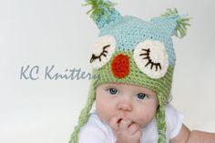 Baby Sleepy Owl Hatcrochetedkewborn or toddler hat by KCKnittery, $22.00