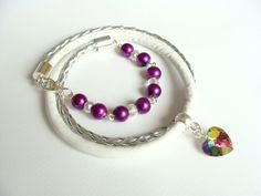 Bracelet With Mulicolor Crystal Heart And Beads.. by CarolinePrecjoza on Etsy