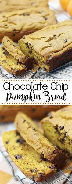 This Chocolate Chip Pumpkin Bread recipe is easy and perfect for friends and family! With pumpkin puree and yummy chocolate chips in the batter, this moist recipe makes 3 loaves of bread to enjoy and give away this fall! Pumpkin Chocolate Chip Bread, Pumpkin Bread, Pumpkin Puree, Christmas Desserts Easy, Thanksgiving Treats, Christmas Recipes, Holiday Recipes, Christmas Decor, Delicious Desserts