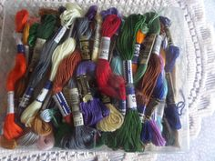 Shop for on Etsy, the place to express your creativity through the buying and selling of handmade and vintage goods. Cotton Box, Cotton Thread, Embroidery Thread, Handmade Crafts, 4th Of July Wreath, All The Colors, Fiber Art, Cross Stitch, Colours
