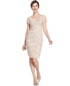 Marina Cap-Sleeve Lace Dress - Mother of the Bride Dresses - Women - Macy's only in taupe though