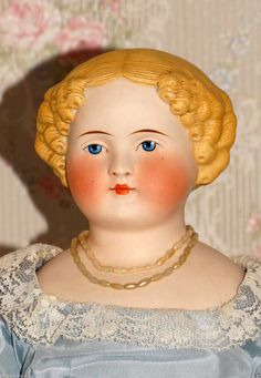 Amazing Antique 20 inch Parian Ware Painted Bisque China Head Doll AD42912160 | eBay