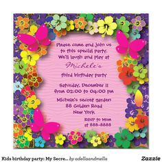 Kids birthday party: My Secret Garden Card