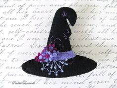 Witches Hat / Felt Pin / Halloween Pin by Beedeebabee on Etsy, $23.00