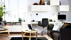 Make white wall bar, storage for music, hide stereo and desk + work storage for D