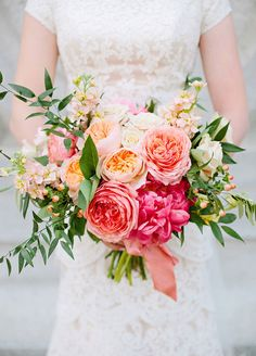 Ombre all the way! Garden roses come in a wide array of brilliant summer hues that are sure to fit any color scheme you have in mind. Wedding Flowers, Bridal Bouquets
