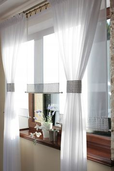 Firany Gotowe Firanki Panele Ekrany Zasłony Rolety 7518060527 - Allegro.pl Swag Curtains, Curtains With Blinds, Sheer Curtains, Panel Curtains, Kitchen Pantry Design, Curtain Designs, Window Coverings, Living Room Decor, Home Decor