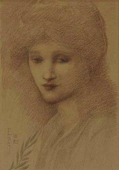 Portrait of Laura Lyttelton (née Tennant), pencil, black and red chalk (1885) - Edward Burne-Jones
