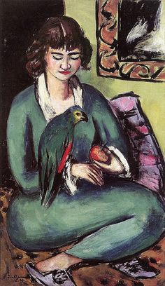 'Quappi with Parrot', 1936 - Max Beckmann