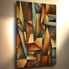 """Abstracto Cubista Pintura 36 """"arte moderno contemporáneo Mix Lang Certificada Original"""