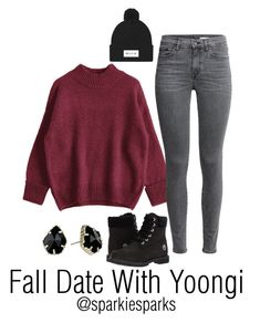 """Fall Date With Yoongi"" by sparkiesparks on Polyvore featuring Timberland, Kendra Scott, cute, outfit, love, kpop and bts"
