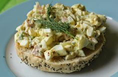 Egg salad a little spiced up - with black forest ham, dill and spicy brown mustard