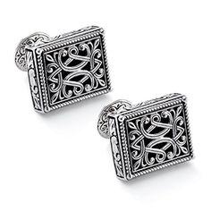 Konstantino Men's Silver Filigree Rectangle Cufflinks