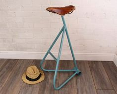 Victoria: Max McMurdo's upcycled bike saddle stool in honour of British cyclist Victoria Pendleton Recycled Furniture, Handmade Furniture, Furniture Projects, Diy Furniture, Furniture Design, Saddle Bar Stools, Saddle Chair, Automotive Furniture, Automotive Decor