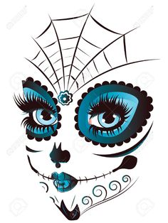 Sugar skull girl face with make up for Day of the Dead (Dia de los Muertos). Sugar Skull Make Up, Sugar Skull Mädchen, Sugar Skull Tattoos, Sugar Skull Face Paint, Sugar Skull Stencil, Sugar Skull Painting, Sugar Skull Costume, Sugar Skull Halloween, Ear Tattoos