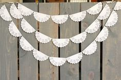White Lace Scallop Paper Doily Sewn Garland - Wedding Garland, Bridal Shower, Photo Backdrop, Baby Shower, Nursery Decor, Rustic