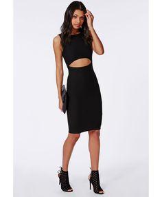 Crepe Clean Two Piece Midi Dress Black - Dresses - Midi Dresses - Missguided