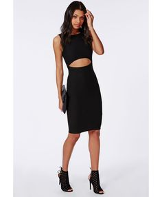 Crepe Clean Two Piece Midi Dress Black - Dresses - Midi Dresses - Missguided