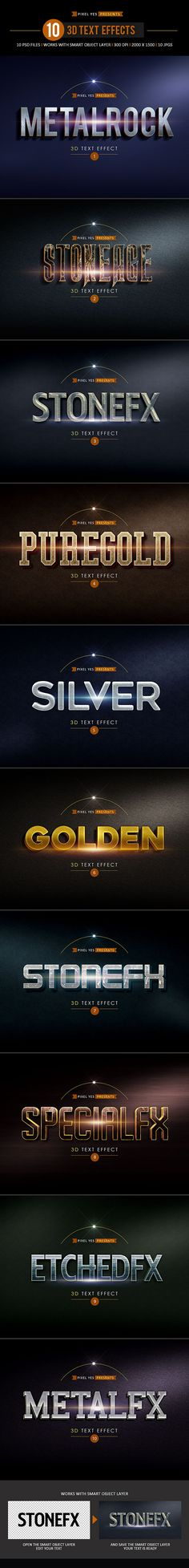 3D Photoshop Text Effects • Only available here! ➝ https://graphicriver.net/item/3d-text-effects/14947732?ref=pxcr