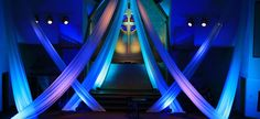 Draping - Church Stage Design Ideas - Scenic sets and stage design ideas from churches around the globe. Church Altar Decorations, Stage Decorations, Stage Set Design, Church Stage Design, Fabric Installation, Church Interior Design, Jesus, Design Ideas, Design Inspiration