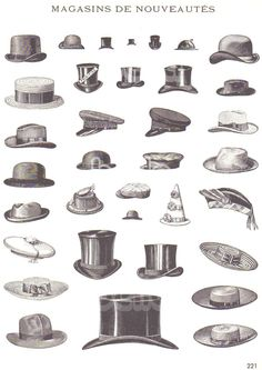 Vintage French Illustrations of Mens Hats Pocket Watches Pipes and Billiards Attributs De Commerce France Advertising Art from early 1900s