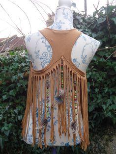 Sunrise Tribe. Native Indian Tribal Waistcoat Vest Bolero with Feathers Boho Clothing size S Fringed Brown Hippie Pixie Psytrance on Etsy, $33.65