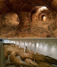 Transarquitetônica, A Network of Wooden Tunnels by Henrique Oliveira