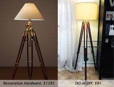 Lamp Comparison:DIY tripod lamp. This is awesome. I want one.