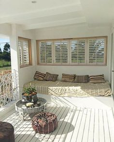 Shutters on the other end of the veranda, too. I can leave my cushions out … - Garten Dekoration Villas, Closed In Porch, Patio Enclosures, Outdoor Living, Outdoor Decor, Apartment Interior Design, Shutters, Home And Living, House Plans