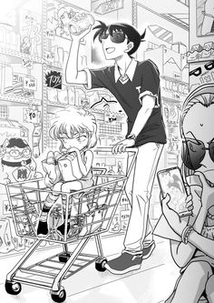 Shopping with my Partner Detective Conan Shinichi, Detektif Conan, Kaito Kid, Gosho Aoyama, Kudo Shinichi, Fan Picture, Case Closed, Magic Kaito, Fangirl