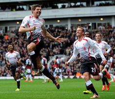 Jumping for joy. Captain Fantastic, Steven Gerrard celebrating scoring #LFC's 2nd goal today against West Ham.