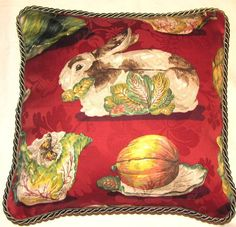 French Red Rabbit Pillow