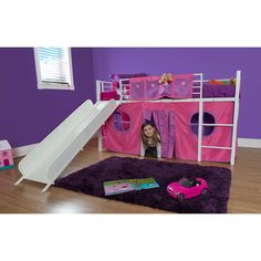 Girl Twin Loft Bed with Slide....perfect for the playroom!
