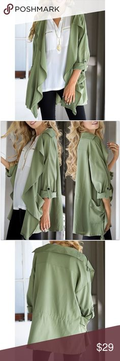 "Army Green Waterfall Jacket Beautiful, army green, lightweight jacket.   *Features draping lapels for a chic waterfall style.  *Roll tab button sleeves.  *Thin, flowy, 100% polyester fabric.   Measurements: SMALL:  Bust 44""  Length 29""  ❗️Price is firm unless bundled❗️ #RW980908 523 Boutique Jackets & Coats"