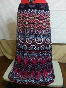 BUY IT NOW! Full Skirt Beaded Ruffle Hem Kim Rogers Size L 100% Cotton Magenta and Lilac  | eBay