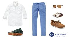 Koszula Gant, spodnie Polo Ralph Lauren, okulary Persol, pasek i bransoletka Kiel James Patrick, buty Sperry Top-Sider
