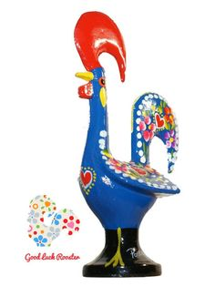 Blue Metal Barcelos Good Luck Rooster by goodluckrooster on Etsy, $19.99