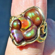 Gorgeous Ring 18K Gold Fire Agate Gem AAA Quality Slaughter Mountain Arizona | eBay
